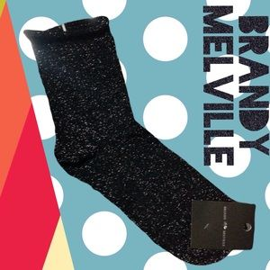 🆕Brandy Melville Black Metallic Socks